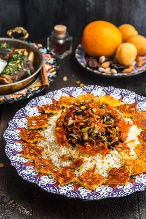Close view of shirin polo persian traditional rice