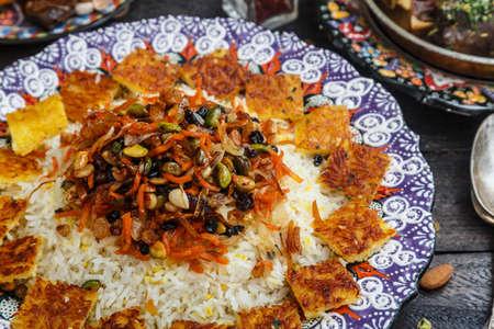 Jeweled rice close view, iranian pilaf with tahdig