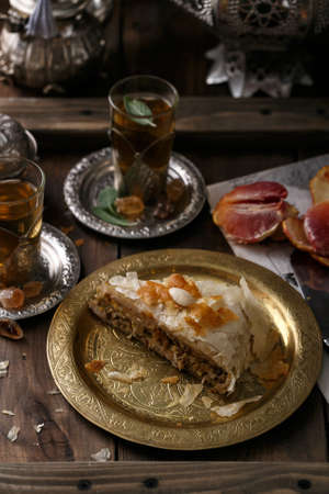 Chicken crysty pie, arabian style with tea Stock Photo