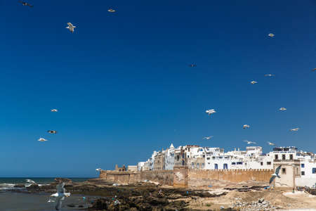 Panoramic view of Essaouira old city and ocean, Morocco. Stock Photo