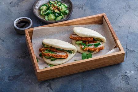 Bao bun with pork belly, steamed sandwich, gua bao.