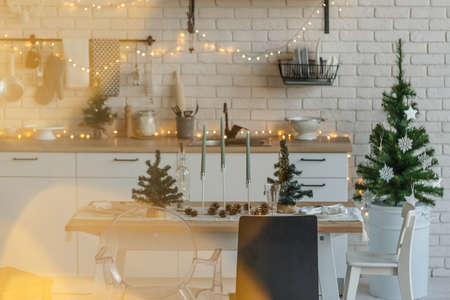 Christmas kitchen table in loft style decoration Stok Fotoğraf