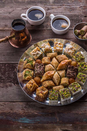 Middle Eastern dessert sweets for coffee, copy space
