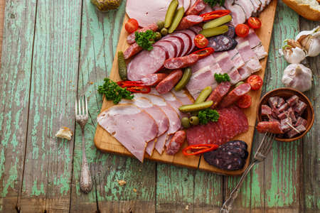Charcuterie board close view with place for wording Фото со стока