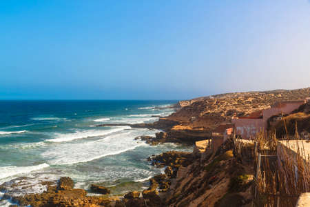 Atlantic Ocean coast landscape with heavy waves, Essaouira, Morocco.