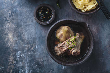 Pork ribs soup with herbs or bak kut teh, singaporean and malaysian cuisine, copy space