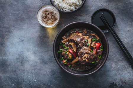 Asian lamb stew in a pot, top view copy space 写真素材