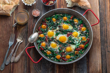 Ispanak yumurta or turkish fried egg with spinach.