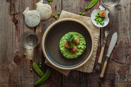 Seared Scallops with pea puree on a plate 写真素材