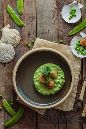 Scallops with pea puree on a plate 写真素材