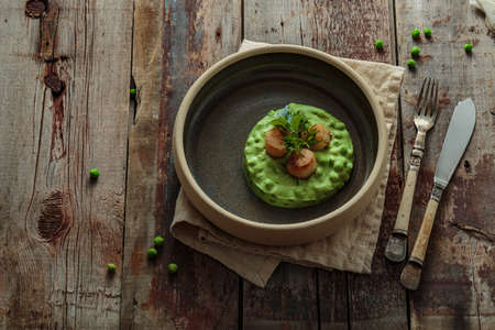 Seared Scallops with pea puree on a plate, copy space