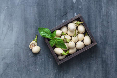 Thai fresh white eggplants in a box