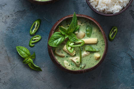 Green curry with chicken or Kang keaw wan gai, thai cuisine 写真素材