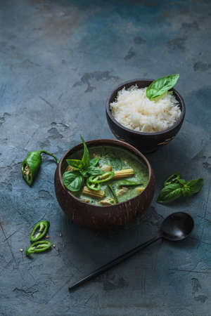 Chicken green curry with rice, thai cuisine