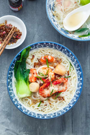 Bee hoon or bihun soup top view flat lay