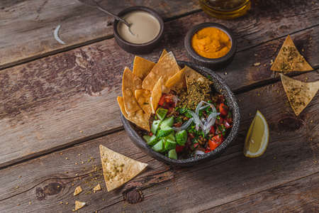 Traditional Arabic fattoush salad with fried flat bread, copy space Stock fotó