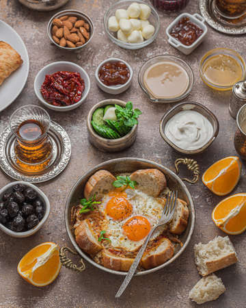 Delicious Turkish breakfast with different appetizers.