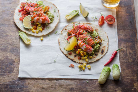 Mexican crab tacos flat lay with copy space
