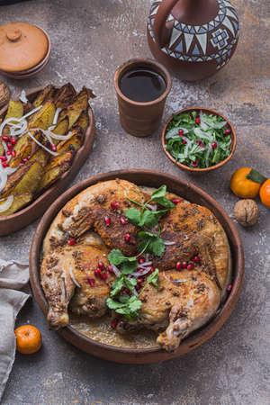 Fried Chicken with cream garlic sauce, georgian cuisine Stock Photo