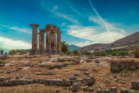 Temple of Apollo in Ancient Corinth, Peloponnese peninsula, Greece