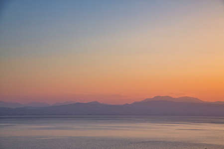 Mystic sunset View over the Gulf of Corinth, Greece.