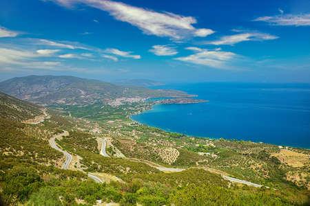 Beautiful panoramic view of Greece coastline on Peloponessos