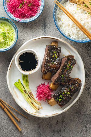 Grilled and smoked Korean Style Short Ribs Banque d'images