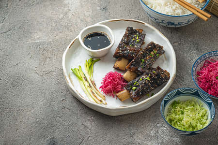 Tender Beef short ribs with radish and rice, copy space