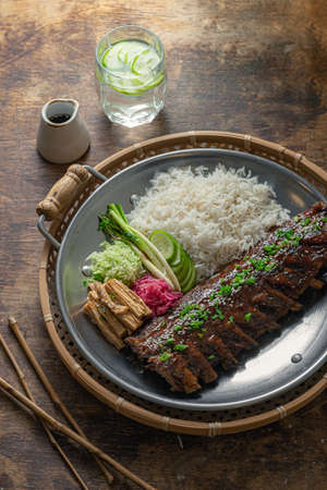 Asian style spicy short ribs with rice and vegetables