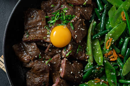 Close view of Korean Beef Bulgogi, grilled beef steak with spicy sauce Banque d'images