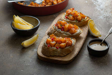 Bruschetta with baked Pumpkin and goat Cheese.