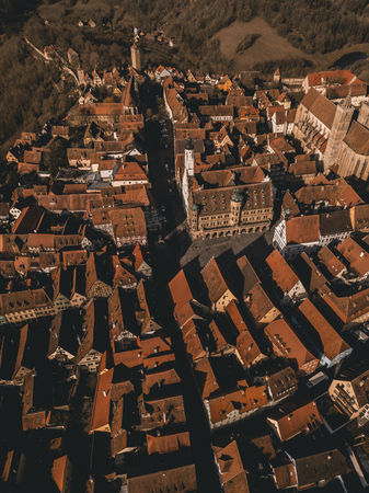 Aerial images of medieval old town, a destination for tourists from around the world. It is part of the popular Romantic Road through southern Germany.