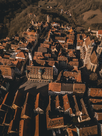 Aerial images of medieval old town, a destination for tourists from around the world. It is part of the popular Romantic Road through southern Germany. Stock fotó