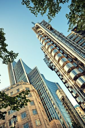 lloyds london: The Lloyds Building and Willis Building  located in the City of London. Stock Photo