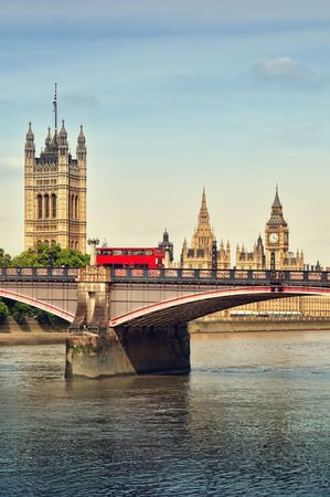 double decker: Double Decker and Houses of Parliament, London, UK. Stock Photo