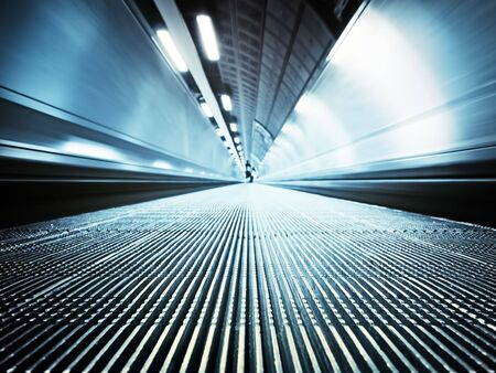 travel features: Moving walkway at the London`s Tube