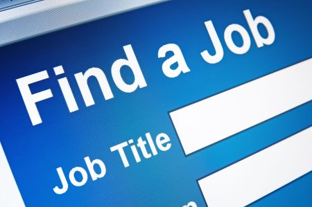 finding employment: online job searching Stock Photo