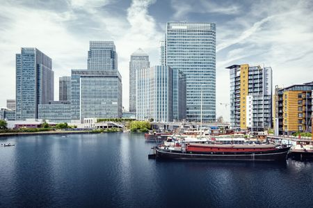 Canary Wharf view from West India Docks.  Stock Photo - 7948784