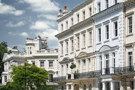 streets of london: Elegant apartment building in Notting Hill, London. Stock Photo