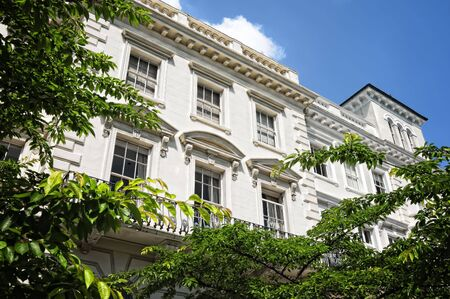 english culture: Elegant apartment building in Notting Hill, London. Stock Photo