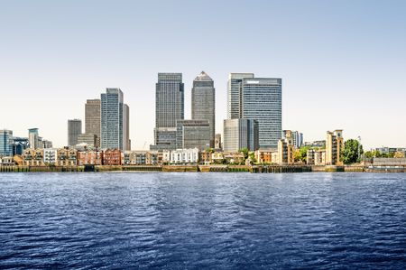 Panoramic picture of Canary Wharf view from Greenwich. This view includes: Credit Suisse, Morgan Stanley, HSBC Group Head Office, Canary Wharf Tower, Citigroup Centre, One Churchill Place(Barclays) and Riverside apartment.  photo