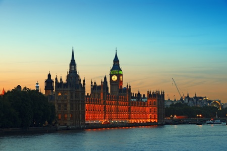 Houses of Parliament at sunset. photo