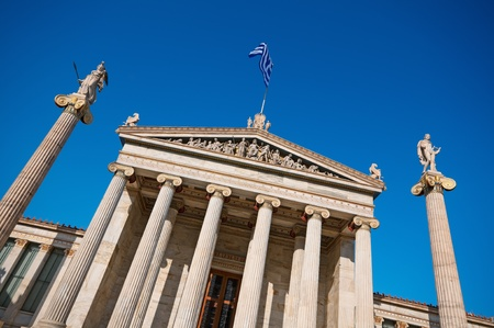 Academy of Athens  On the columns are goddess Athena and Apollo. photo