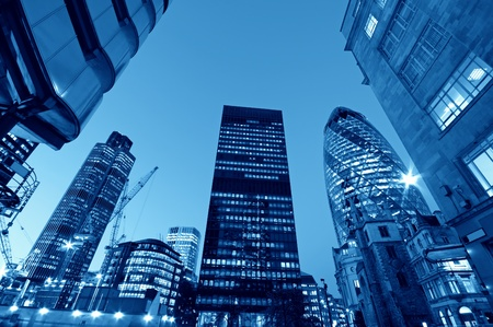Skyscrapers in City of London,( Lloyds of London, Tower 42, Aviva and the Gherkin) Stock Photo - 9881908