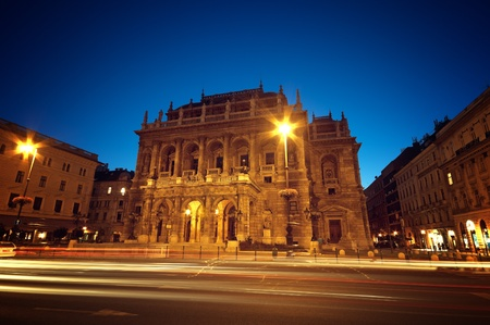 Hungarian Opera House at night.