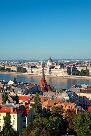 Hungarian Parliament view from Buda Castle Fishermens Bastion photo