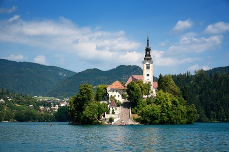 View of  St. Mary´s Church of the Assumptionon in Bled photo