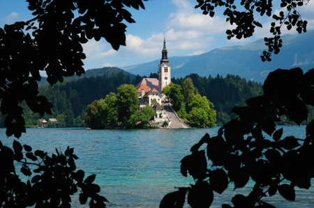 slovenia: View of  St. Mary´s Church of the Assumptionon in Bled Stock Photo