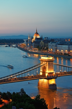 budapest: View of Chain Bridge, Hungarian Parliament and River Danube form Buda Castle.