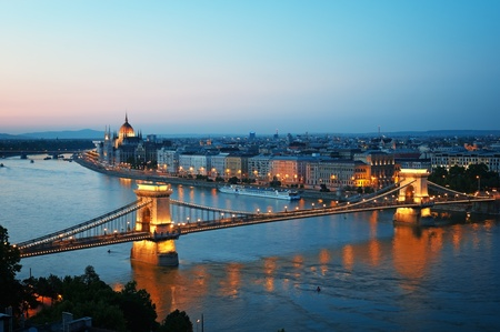 saturated color: View of Chain Bridge, Hungarian Parliament and River Danube form Buda Castle.